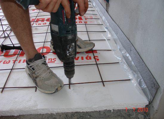 Nexas Ενδοδαπέδια Θέρμανση - Στερέωση πλέγματος και μονωτικών πλακών